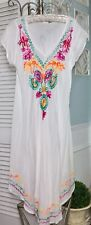 NEW~ Plus Size 2X 1X White Bright Embroidered A-Line Midi Boho Beach Sun Dress