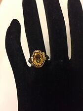 10k 10kt  Yellow Gold Citrine Solitaire With Accent Ring 3.2 Grams Size 7