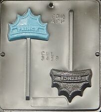 FREE SHIP NEW 2 Cav PRINCE CROWN Chocolate Candy Fondant Clay Plaster Lolly Mold