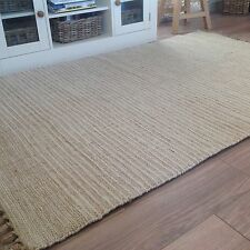 ❤️Beige & White Pin Stripe Cotton & Jute Rug Fringing 120cm x 180cm Flat Weave
