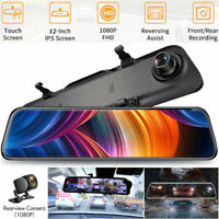12'' 1080P In Car Dash Cam Rear View Mirror Camera Night Vision Streaming Video