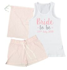 Personalised Bride To Be Pyjamas Vest Shorts Gift Bag Wedding Party Hen Do Pink