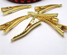 30PCS Gold Plate Single Prong Metal Alligator Clips Hair Accessory