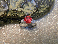2.45 Ct. VVS1 Red/Orange Padparadscha Sapphire/Accents .925 Silver Ring Size US7