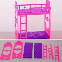 Plastic Bunk Bed Bedroom Furniture Bed Set for Dolls Dollhouse DIY Gifts
