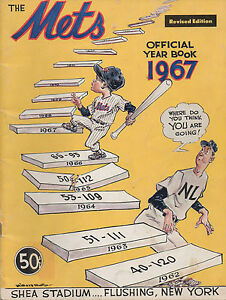 1967 New York Mets Official Yearbook 2nd Revised Edition Shea +Color Team Photo