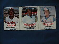 1977 Kellogg's #55-56-57 Lee May, J.Mayberry, D.Chaney 3 card panel baseball