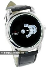 men's designer silver tone clubbing business watch disk windows black strap