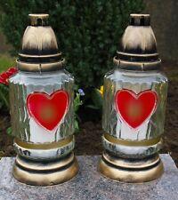 2x Grablicht 25cm Grablaterne Lampe Grableuchte Glas Grabschmuck Kerze Gold 20