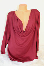 SONOMA WOMAN (2X) Stretch Knit Pullover Burgundy Top Cowl Neck