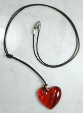 Vintage BACARRAT France Red Heart Crystal Pendant Necklace. Nice!