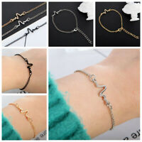 Women Men Fashion Heart Beat Ecg Chain Bracelet Women Charm Cuff Bangle Jewelry