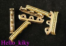 60Pcs  Antiqued gold plt dotted 3 holes spacer bar A448