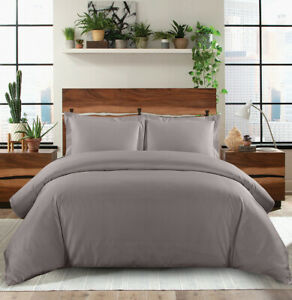 600 Thread Count 100% Combed Cotton Sateen Weave Solid Duvet Cover Set