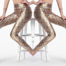 New Metallic High Waist Silver Orange Leggings Stretch Pants 9349-2
