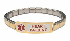 Heart Patient 9mm Italian Charm Medical Alert Starter Bracelet Stainless Steel