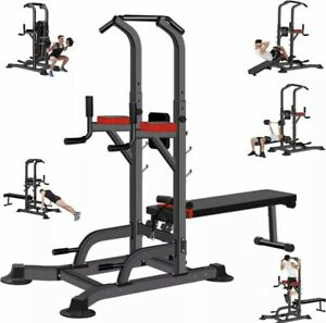 Multifunctional Power Tower Pull Up Dip Station Adjustable Height & Weight Bench