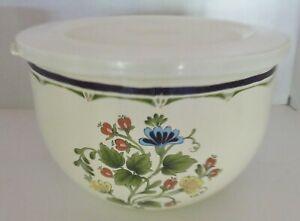 "Kobe JCPenney Floral Enamelware Metal Mixing Bowl - 8 1/4"" - PA Dutch Flowers"