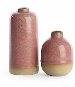 George Asda Home Set of 2 Ceramic Crackle Effect Vases in Dark Pink