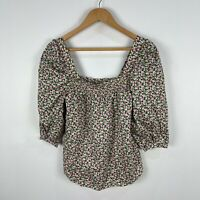 H&M Womens Top XS Multicoloured Floral 3/4 Sleeve Square Neck