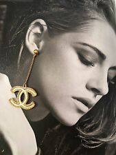 Authentic New CHANEL '17 CC Logo DANGLE Gold Tone Earrings in Box and Bag