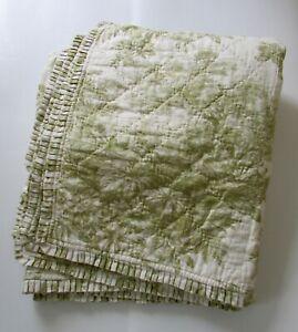 Pottery Barn MATINE Toile Green Linen/Cotton Queen Quilt