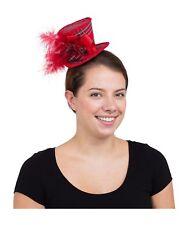 Ladies Red Tartan Mini Tall Hat Fancy Dress Accessory