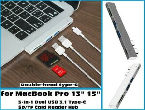 "2 USB 3.0 Hub TF SD Card Reader Type C Hub Thunderbolt 3 for MacBook Pro 13"" 15"""