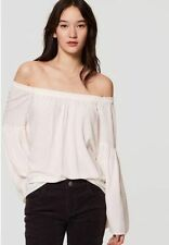 Ann Taylor LOFT womens Large Off the shoulder Bell sleeve top Whisper White NWT