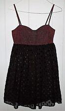 Vtg 1990s BETSEY JOHNSON party dress burnout velvet dots bustier black purple 4