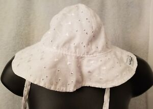 The Original Flap Happy Girls White Floral Embroidered Sun Hat Cap Size L