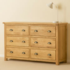 Roseland Oak Wide Chest of Drawers / Solid Wood 6 Drawer Chest / Rustic Oak /New