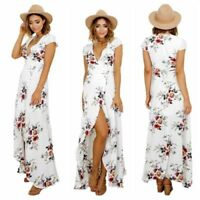Womens V Neck Short Sleeve Summer Holiday Split Floral Long Maxi Dress Size 6-14