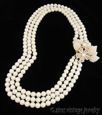 Vintage Long multi Strand PEARL bead AB rhinestone FLOWER Cluster clasp NECKLACE