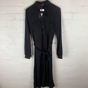V By Very Long Sleeve Tie Waist Modal Shirt Midi Dress - Black Uk12 Rrp £28