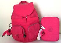 Kipling Firefly Backpack & 100 Pens Pencil Case Purse School Travel Vibrant PinK