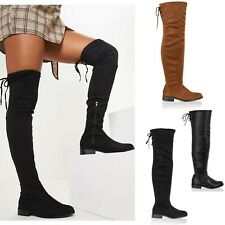 Womens Ladies Thigh High Boots Long Over The Knee Low Heel Lace Up Shoes Size