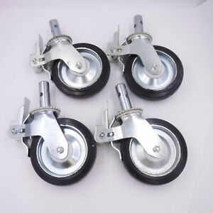 "4x Locking Stem Casters Scaffold 8""x 1-3/4"" Solid Wheels, 1-3/8"" Stem Bearings"