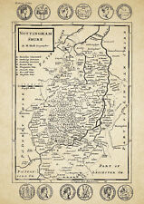 Nottinghamshire County map by Herman Moll 1724 - Reproduction