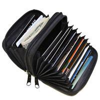 Black Zipper Credit Card Holder Organizer Women's Accordion Fine Leather Wallet
