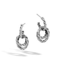 John Hardy Twist Chain Drop Earrings Sterling Silver