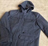 Mens Wool Coat Black Rivet XL Dark Grey