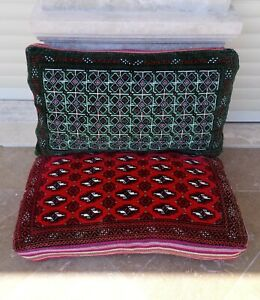 Machinewoven Green Red Turkmen Oriental Seating Vintage Cushion Cover LOT OF 2