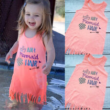 Kids Baby Girls Mermaid Hair Sundress Party Summer Tops Vest Beach Dress Outfits