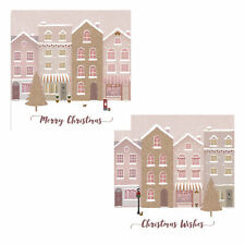 Pack of 10 Christmas Cards with Glitter Detail - 8498 Houses