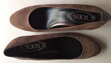 NIB Tod's Zeppa Gomma T35 Sf Decollete Women Open Toe Leather Brown WedgeHeel 7M
