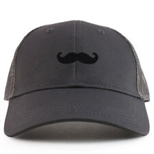 Youth Kid Black Mustache Patch Youth 6 Panel Trucker Baseball Cap- FREE SHIPPING