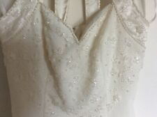 STUNNING IVORY BEADED WEDDING DRESS BY BERKERTEX BRIDES - SIZE 8