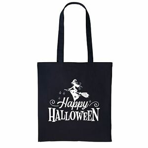 Happy Halloween Black Tote Bag, Trick or Treat Bag, Witches Bag