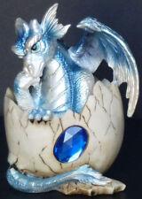 """Sapphire September Birthstone Dragon in Egg Shell 4"""" Figure Statue"""